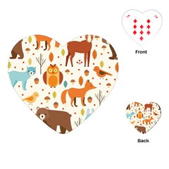 Woodland Friends Pattern Playing Cards (heart)  by allthingseveryday