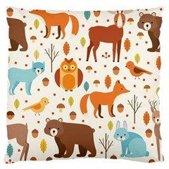 Woodland Friends Pattern Large Flano Cushion Case (one Side) by allthingseveryday
