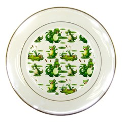 Crocodiles In The Pond Porcelain Plates by allthingseveryday
