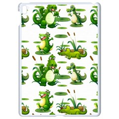Crocodiles In The Pond Apple Ipad Pro 9 7   White Seamless Case by allthingseveryday