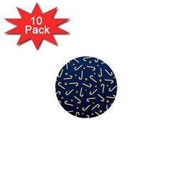 Golden Candycane Blue 1  Mini Buttons (10 Pack)  by jumpercat