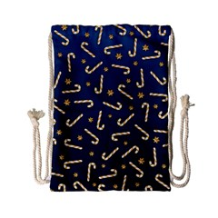 Golden Candycane Blue Drawstring Bag (small)