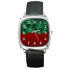 Xmas Tree Square Metal Watch by jumpercat