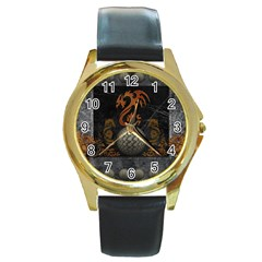 Awesome Tribal Dragon Made Of Metal Round Gold Metal Watch by FantasyWorld7
