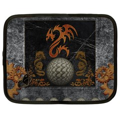 Awesome Tribal Dragon Made Of Metal Netbook Case (large) by FantasyWorld7