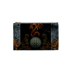 Awesome Tribal Dragon Made Of Metal Cosmetic Bag (small)  by FantasyWorld7