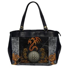 Awesome Tribal Dragon Made Of Metal Office Handbags (2 Sides)  by FantasyWorld7