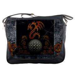 Awesome Tribal Dragon Made Of Metal Messenger Bags