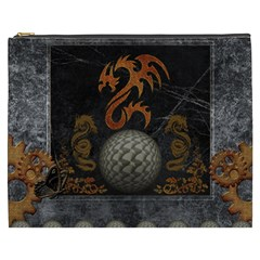 Awesome Tribal Dragon Made Of Metal Cosmetic Bag (xxxl)  by FantasyWorld7