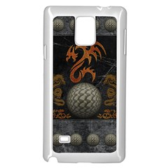 Awesome Tribal Dragon Made Of Metal Samsung Galaxy Note 4 Case (white) by FantasyWorld7