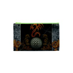 Awesome Tribal Dragon Made Of Metal Cosmetic Bag (xs) by FantasyWorld7
