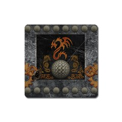 Awesome Tribal Dragon Made Of Metal Square Magnet by FantasyWorld7