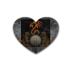 Awesome Tribal Dragon Made Of Metal Rubber Coaster (heart)  by FantasyWorld7