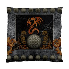 Awesome Tribal Dragon Made Of Metal Standard Cushion Case (two Sides) by FantasyWorld7