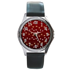 Christmas Light Red Round Metal Watch