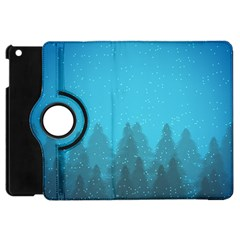 Winter Land Blue Apple Ipad Mini Flip 360 Case
