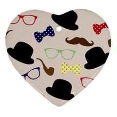 Moustache Hat Bowler Bowler Hat Heart Ornament (two Sides)