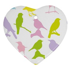 Birds Colourful Background Ornament (heart)
