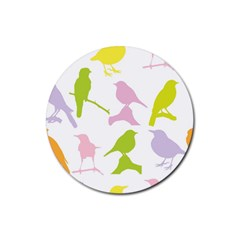 Birds Colourful Background Rubber Round Coaster (4 Pack)