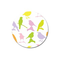 Birds Colourful Background Magnet 3  (round) by Celenk