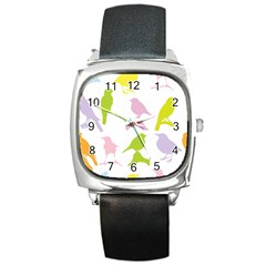Birds Colourful Background Square Metal Watch by Celenk