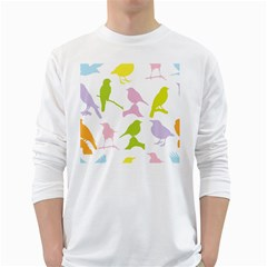 Birds Colourful Background White Long Sleeve T Shirts by Celenk