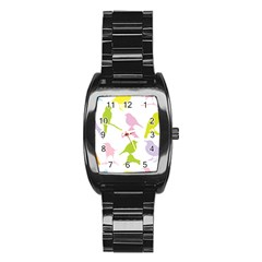 Birds Colourful Background Stainless Steel Barrel Watch by Celenk