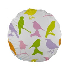 Birds Colourful Background Standard 15  Premium Flano Round Cushions by Celenk