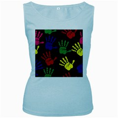 Handprints Hand Print Colourful Women s Baby Blue Tank Top by Celenk
