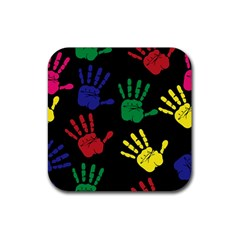 Handprints Hand Print Colourful Rubber Coaster (square)  by Celenk