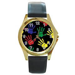 Handprints Hand Print Colourful Round Gold Metal Watch by Celenk