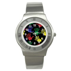 Handprints Hand Print Colourful Stainless Steel Watch by Celenk