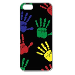 Handprints Hand Print Colourful Apple Seamless Iphone 5 Case (clear) by Celenk