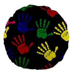 Handprints Hand Print Colourful Large 18  Premium Flano Round Cushions