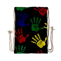 Handprints Hand Print Colourful Drawstring Bag (small) by Celenk