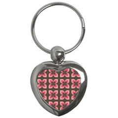 Floral Retro Abstract Flowers Key Chains (heart)  by Celenk