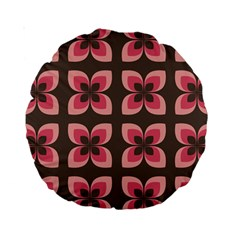 Floral Retro Abstract Flowers Standard 15  Premium Round Cushions by Celenk