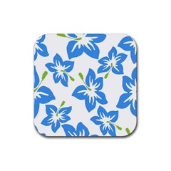 Hibiscus Wallpaper Flowers Floral Rubber Square Coaster (4 Pack)  by Celenk
