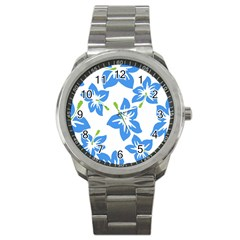 Hibiscus Wallpaper Flowers Floral Sport Metal Watch by Celenk