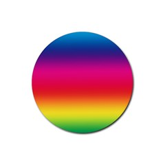 Spectrum Background Rainbow Color Rubber Round Coaster (4 Pack)