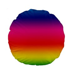 Spectrum Background Rainbow Color Standard 15  Premium Round Cushions by Celenk