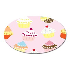 Cupcakes Wallpaper Paper Background Oval Magnet by Celenk