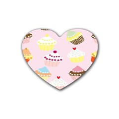 Cupcakes Wallpaper Paper Background Heart Coaster (4 Pack)  by Celenk