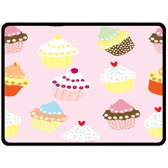 Cupcakes Wallpaper Paper Background Double Sided Fleece Blanket (large)  by Celenk