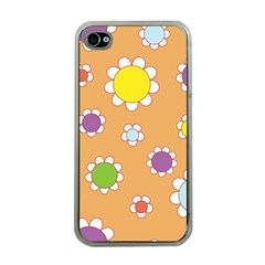 Floral Flowers Retro 1960s 60s Apple Iphone 4 Case (clear) by Celenk