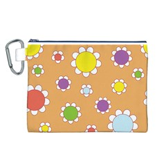 Floral Flowers Retro 1960s 60s Canvas Cosmetic Bag (l)