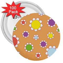 Floral Flowers Retro 1960s 60s 3  Buttons (100 Pack)  by Celenk