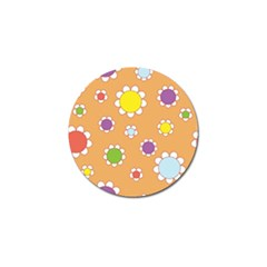 Floral Flowers Retro 1960s 60s Golf Ball Marker