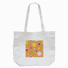 Floral Flowers Retro 1960s 60s Tote Bag (white) by Celenk