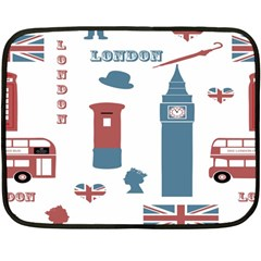 London Icons Symbols Landmark Double Sided Fleece Blanket (mini)  by Celenk